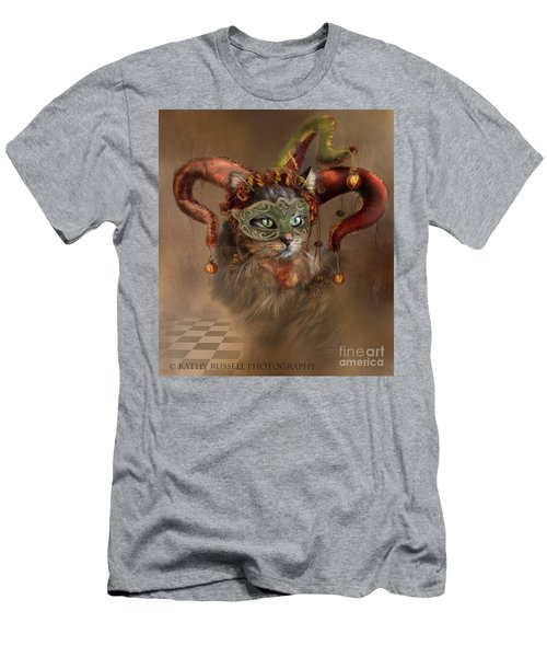 Cat In A Hat Men's T-Shirt (Slim Fit) by Kathy Russell