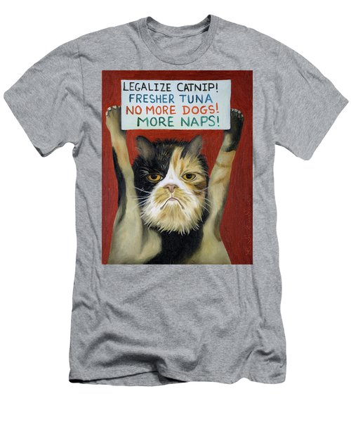 Cat On Strike Men's T-Shirt (Slim Fit) by Leah Saulnier The Painting Maniac