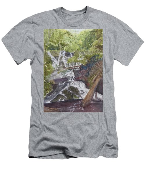 Men's T-Shirt (Athletic Fit) featuring the painting Catawba Falls - Working Notes by Joel Deutsch
