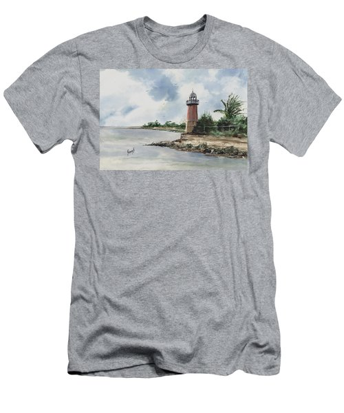 Men's T-Shirt (Athletic Fit) featuring the painting Cayman Lighthouse by Sam Sidders