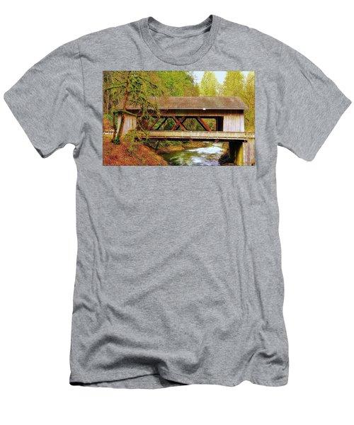 Cedar Creek Grist Mill Covered Bridge Men's T-Shirt (Slim Fit) by Steve Warnstaff