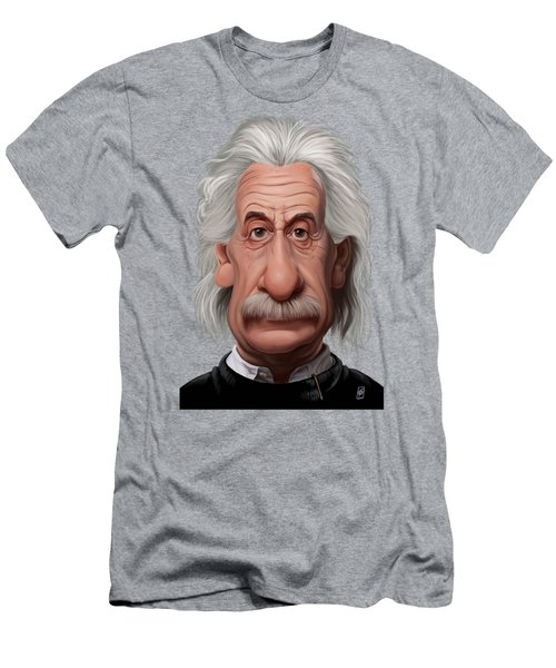 Celebrity Sunday - Albert Einstein Men's T-Shirt (Slim Fit) by Rob Snow