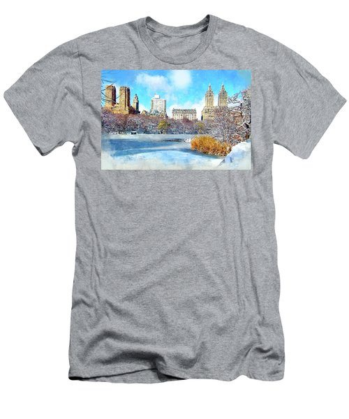 Central Park In Winter Men's T-Shirt (Slim Fit) by Kai Saarto