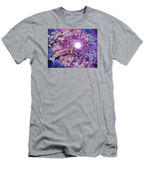Champagne Tabby Cat In Cherry Blossoms Men's T-Shirt (Slim Fit) by Laura Iverson