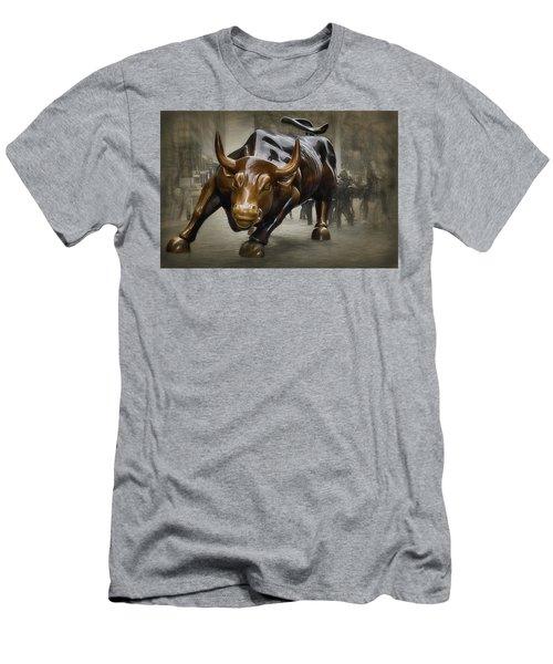Charging Bull Men's T-Shirt (Slim Fit) by Dyle Warren