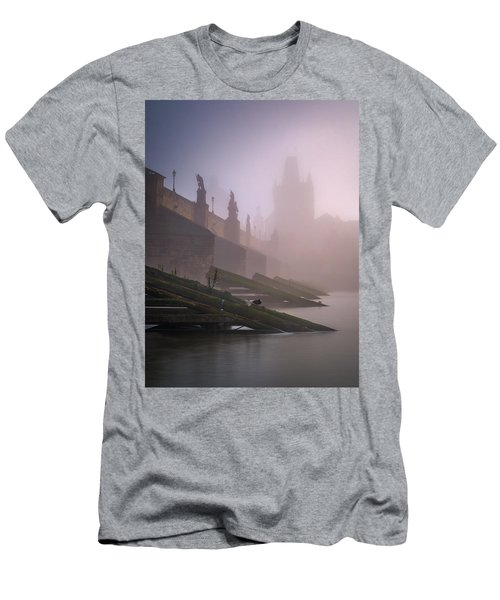 Charles Bridge At Autumn Foggy Day, Prague, Czech Republic Men's T-Shirt (Athletic Fit)