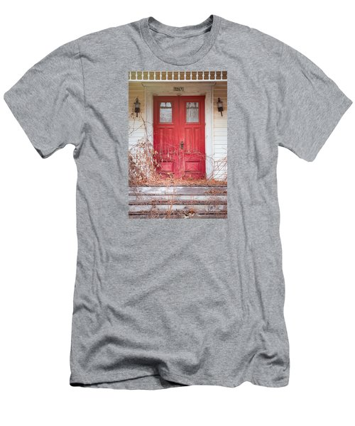Men's T-Shirt (Slim Fit) featuring the photograph Charming Old Red Doors Portrait by Gary Heller