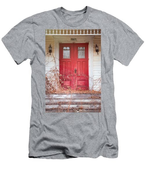 Charming Old Red Doors Portrait Men's T-Shirt (Athletic Fit)