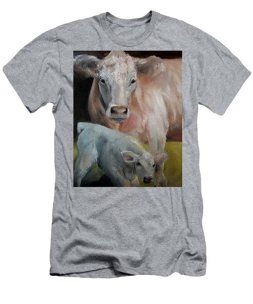 Charolais Cow Calf Painting Men's T-Shirt (Slim Fit) by Michele Carter