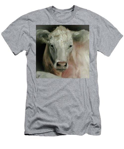 Charolais Cow Painting Men's T-Shirt (Slim Fit) by Michele Carter