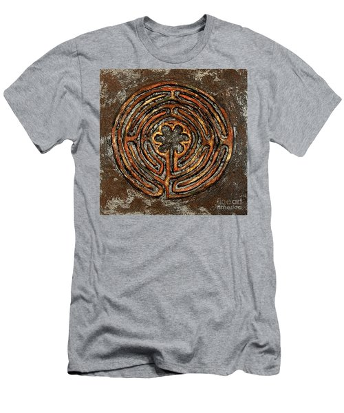 Chartres Style Labyrinth Earth Tones Men's T-Shirt (Athletic Fit)