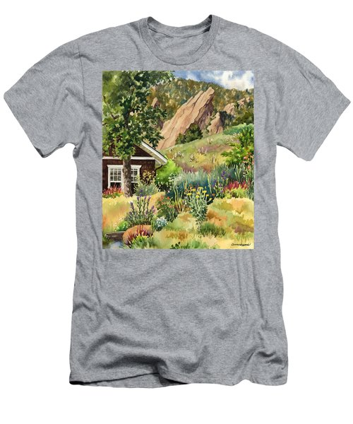 Men's T-Shirt (Slim Fit) featuring the painting Chautauqua Cottage by Anne Gifford