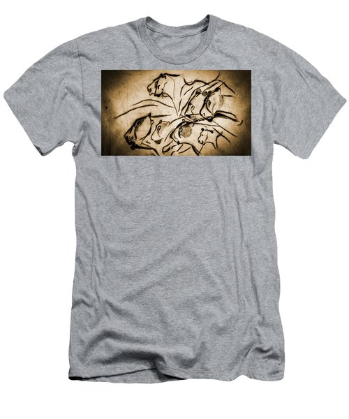 Chauvet Cave Lions Burned Leather Men's T-Shirt (Athletic Fit)