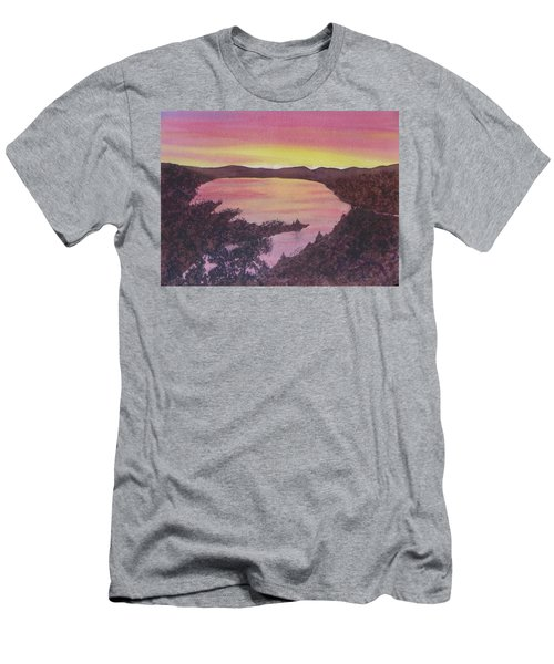 Men's T-Shirt (Athletic Fit) featuring the painting Cherokee Lake Sunset Number Seven by Joel Deutsch