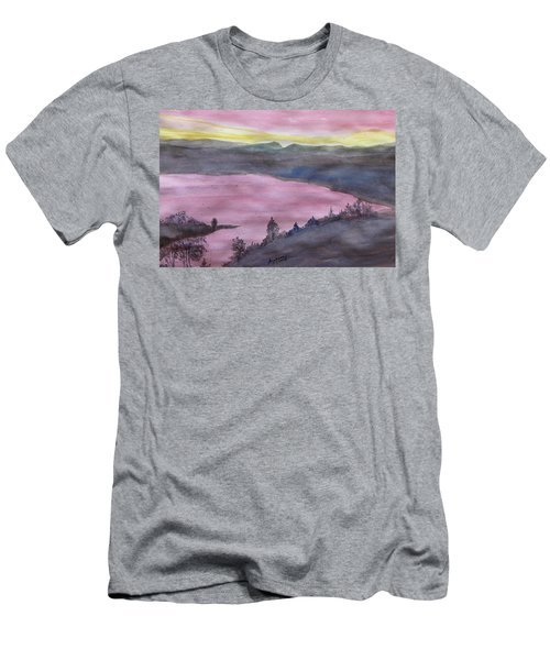 Men's T-Shirt (Athletic Fit) featuring the painting Cherokee Lake - Watercolor Sketch  by Joel Deutsch