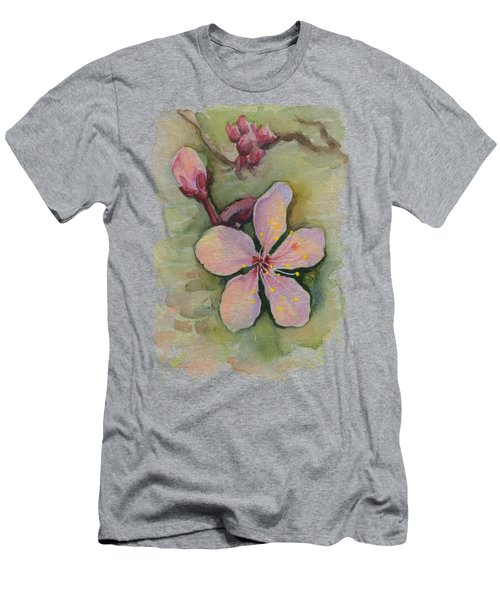 Cherry Blossom Watercolor Men's T-Shirt (Athletic Fit)