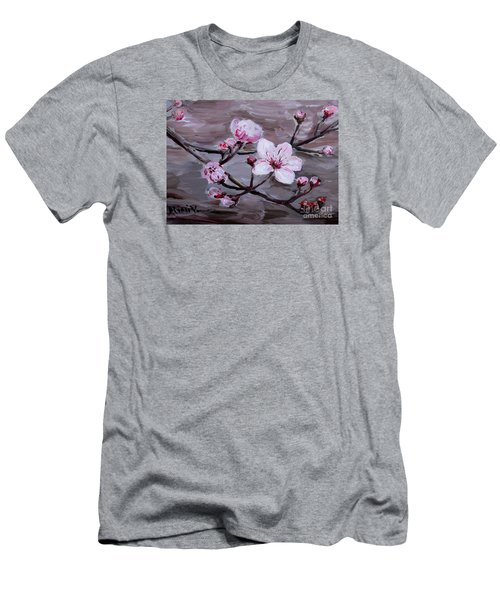 Men's T-Shirt (Athletic Fit) featuring the painting Cherry Blossoms by Maria Langgle