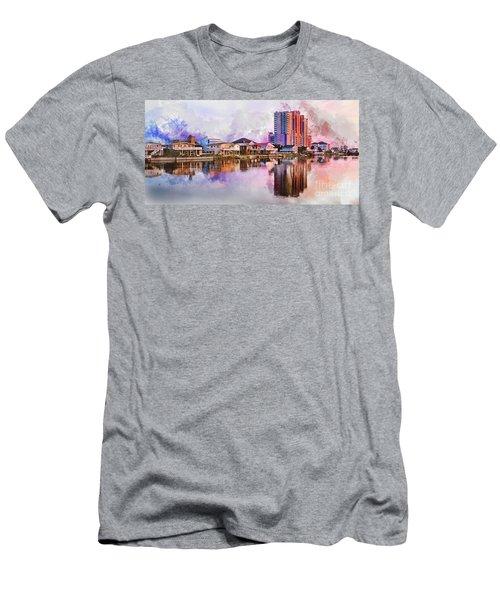Cherry Grove Skyline - Digital Watercolor Men's T-Shirt (Athletic Fit)