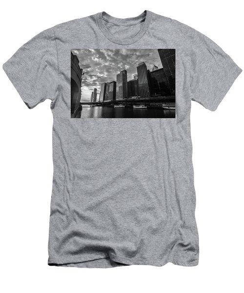 Chi Sunrise Black And White Men's T-Shirt (Athletic Fit)
