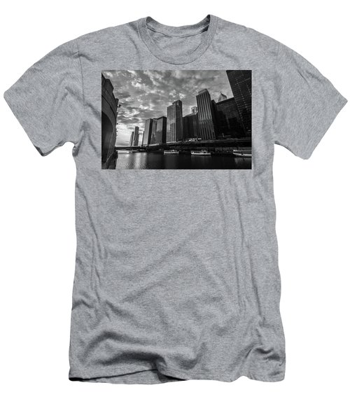 Chi Sunrise Black And White Men's T-Shirt (Athletic Fit)