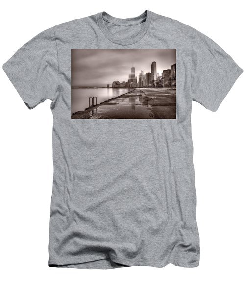 Chicago Foggy Lakefront Bw Men's T-Shirt (Slim Fit) by Steve Gadomski
