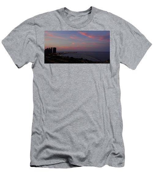 Chicago Lakefront At Sunset Men's T-Shirt (Slim Fit) by Michael Bessler