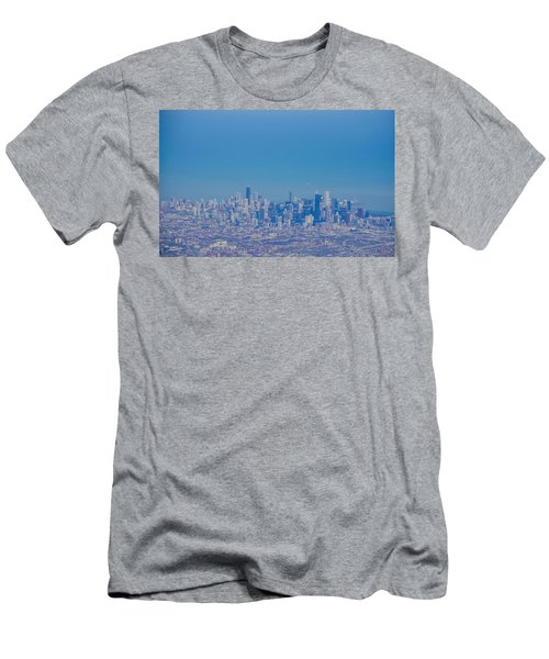 Men's T-Shirt (Slim Fit) featuring the photograph Chicago Skyline Aerial View by Deborah Smolinske