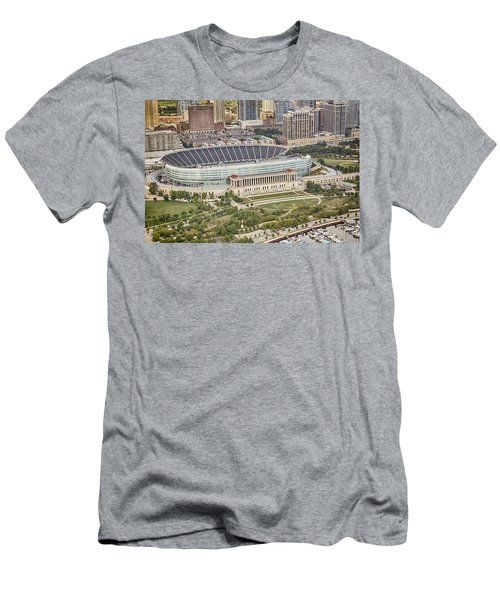 Men's T-Shirt (Slim Fit) featuring the photograph Chicago's Soldier Field Aerial by Adam Romanowicz