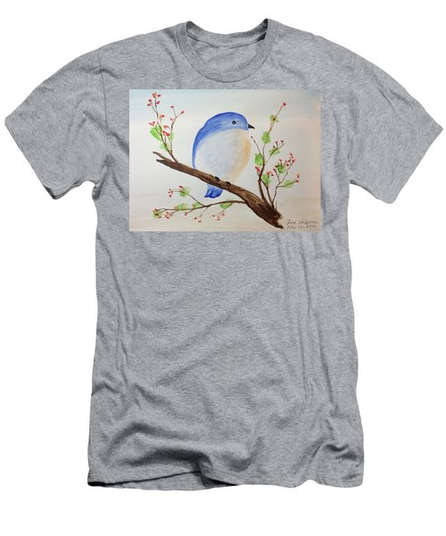 Chickadee On A Branch With Leaves Men's T-Shirt (Athletic Fit)