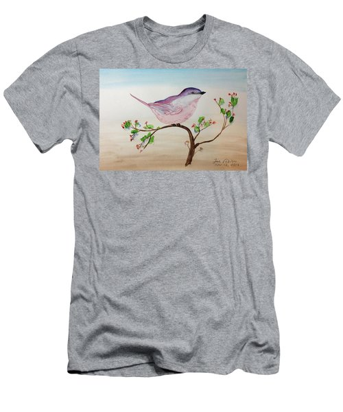 Chickadee Standing On A Branch Looking Men's T-Shirt (Athletic Fit)