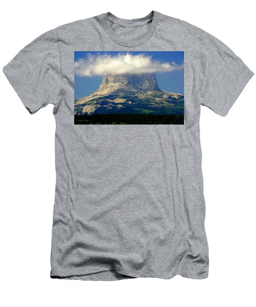 Chief Mountain, With Its Head In The Clouds Men's T-Shirt (Slim Fit)