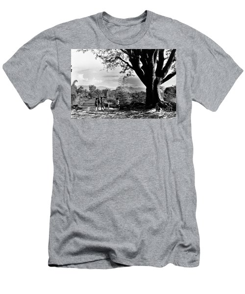 Men's T-Shirt (Athletic Fit) featuring the photograph Children Of Central Highland Are Playing With A Dog by Silva Wischeropp