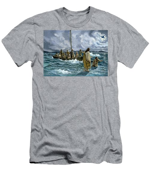 Christ Walking On The Sea Of Galilee Men's T-Shirt (Athletic Fit)