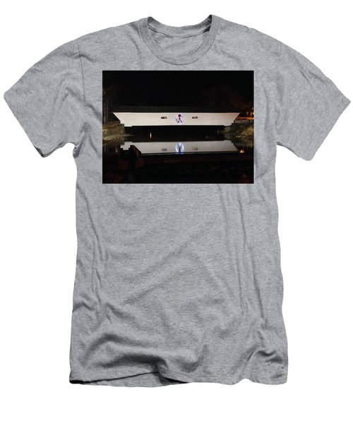 Christmas Covered Bridge Men's T-Shirt (Athletic Fit)