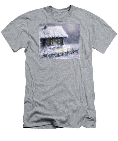Men's T-Shirt (Slim Fit) featuring the painting Christmas Eve by Arturas Slapsys