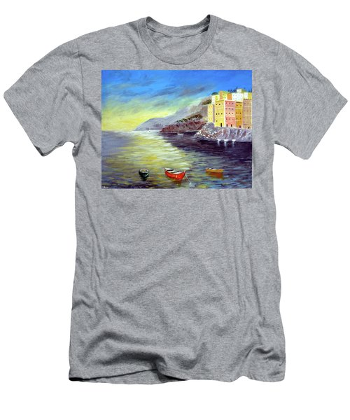 Men's T-Shirt (Slim Fit) featuring the painting Cinque Terre Dreams by Larry Cirigliano