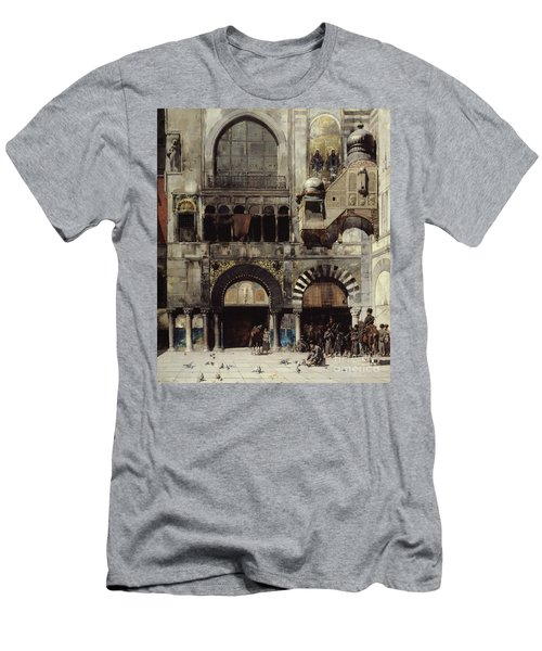 Circassian Cavalry Awaiting Their Commanding Officer At The Door Of A Byzantine Monument Men's T-Shirt (Slim Fit) by Alberto Pasini