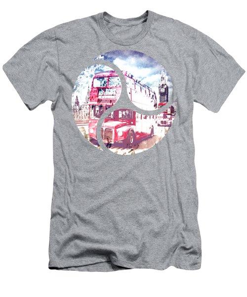City-art London Red Buses On Westminster Bridge Men's T-Shirt (Slim Fit) by Melanie Viola