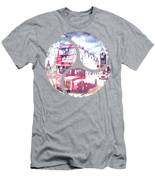 City-art London Red Buses On Westminster Bridge Men's T-Shirt (Athletic Fit)