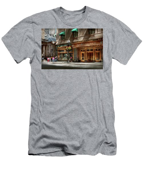 Men's T-Shirt (Athletic Fit) featuring the photograph City - Ma Boston - Meet Me At The Omni Parker Clock by Mike Savad