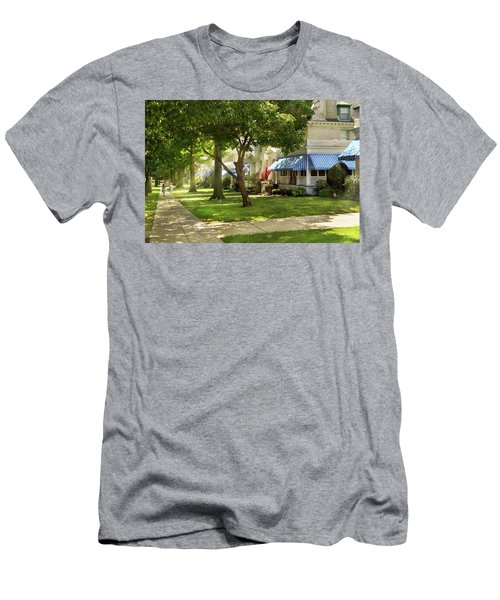 Men's T-Shirt (Athletic Fit) featuring the photograph City - Naval Academy - A Walk Down Captains Row by Mike Savad