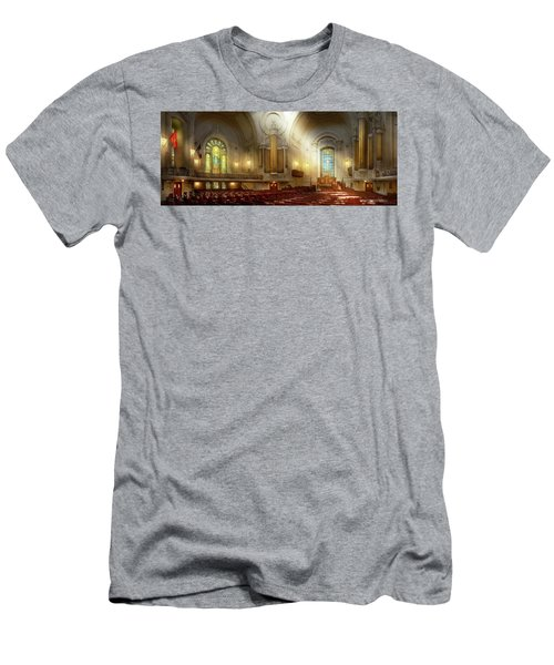 Men's T-Shirt (Athletic Fit) featuring the photograph City - Naval Academy - The Chapel by Mike Savad