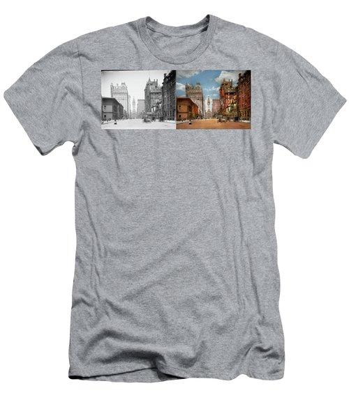 Men's T-Shirt (Athletic Fit) featuring the photograph City - Pa Philadelphia - Broad Street 1905 - Side By Side by Mike Savad