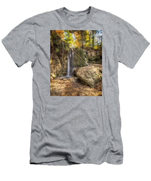 Clark Creek Nature Area Waterfall No. 1 Men's T-Shirt (Slim Fit) by Andy Crawford