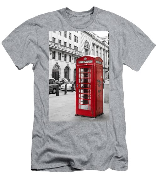 Red Telephone Box In London England Men's T-Shirt (Athletic Fit)