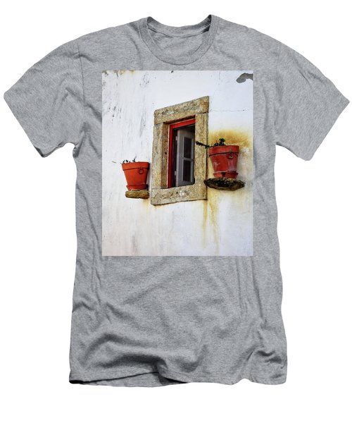 Men's T-Shirt (Slim Fit) featuring the photograph Clay Pots In A Portuguese Village by Marion McCristall