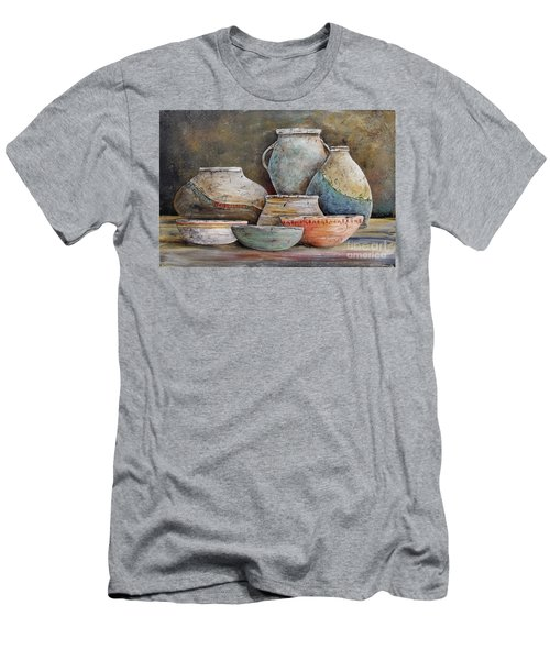 Men's T-Shirt (Slim Fit) featuring the painting Clay Pottery Still Lifes-a by Jean Plout