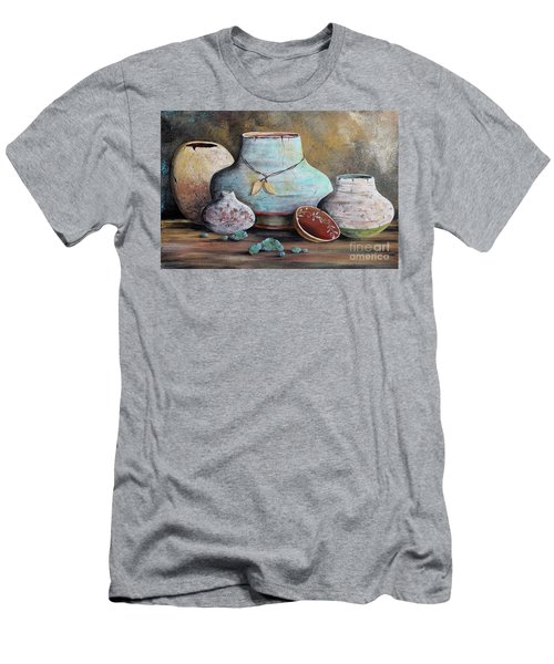 Men's T-Shirt (Slim Fit) featuring the painting Clay Pottery Still Lifes-b by Jean Plout