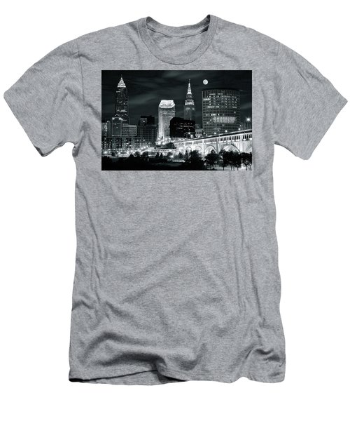 Cleveland Iconic Night Lights Men's T-Shirt (Slim Fit) by Frozen in Time Fine Art Photography