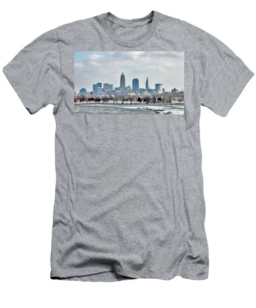 Cleveland Skyline In Winter Men's T-Shirt (Athletic Fit)